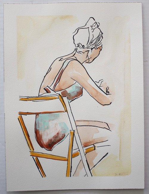 Lady Sketching 12%22 h x 9%22 w $100.jpg